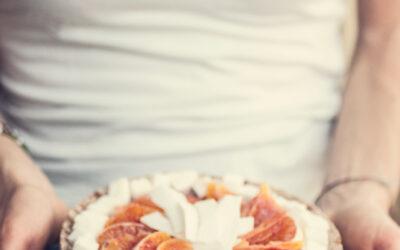 Coconut, orange and chocolate raw cake