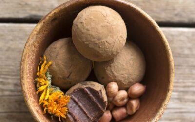 Praline crudiste di cioccolato al caramello salato di arachidi